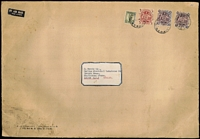 Lot 738:1957(?) oversized cover (370x255mm) to UK with 10/- Arms x2, 5/- Arms and 1/- Small Lyrebird tied by Newcastle (NSW) datestamps, paying 2/- airmail rate x13 for contents weighing up to 6½oz, some soiling however stamps are of fine appearance and neatly cancelled.