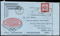 Lot 544:1956 10d Olympic Games BW #A9 scarce commercial usage from Electric Lamp Manufacturers (Hamilton, NSW) to Philips Industries in UK, Newcastle slogan cancel.