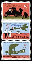"Lot 630 [1 of 2]:1969 5c Flight Strip of Three the central unit inscribed 'CAPT.WRIGLEY, POINT COOK-DARWIN' signed by pilot Captain ""H.N. Wrigley"", also a PO Pack advertising leaflet signed by him. [Captain Wrigley is honoured on the stamp with the plane flying to the right.] (2 items)"