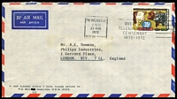Lot 842 [3 of 3]:1972 35c Primary Industries commercial on-cover airmail usage to UK comprising [1] 35c Beef solo franking paying single rate; [2] 35c Beef pair paying double-rate; [3] 20c Fruit pair plus $1 Navigators paying quadruple rate; fine condition. (3)