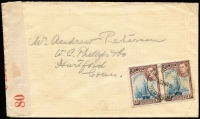 Lot 1332:1941 (Jan 13) cover to USA with 1½d KGVI pair tied by St Georges datestamp, red on white 'PC 102/OPENED BY/CENSOR/80' tape, fine condition. [Censor label No 80 is unrecorded by Peter Flynn in 'Intercepted in Bermuda: The Censorship of Transatlantic Mail During the Second World War']