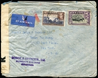 Lot 930:1940 (Mar 15) Dodge & Seymour jusqu'a airmail cover to New York with KGVI 1r & 50c Pictorials tied by Colombo datestamp, black on white 'K' censor label [CCSG 3K] extending by over one month the LRD of usage, some minor blemishess.
