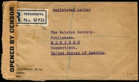 Lot 1081:1940 (Apr 2) Peradeniya registered cover to USA with 20c, 6c x3 & 2c KGVI Pictorials tied by Peradeniya datestamps, black on buff '(Arms)J/OPENED BY CENSOR' tape, Colombo & New York transits and Meriden (CT) arrival backstamp.