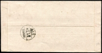 Lot 1392 [2 of 2]:1947 (Oct 17) inflation-era red band cover to Shanghai with $500 on $20 SG # 864 tied by Canton datestamp, Shanghai Oct 19 arrival datestamp, fine condition.
