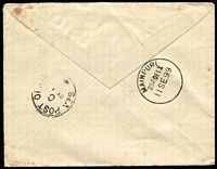 Lot 1298 [2 of 2]:1899 (Jul 29) cover to Mainpuri India with GB QV 1d lilac tied boxed 'PAQUEBOT' cancel, adjacent fine strike of 'SUEZ/29/VII/99' datestamp, Sea Post Office/C transit & Mainpuri arrival backstamp. Nice item.