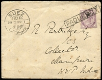 Lot 979 [1 of 2]:1899 (Jul 29) cover to Mainpuri India with GB QV 1d lilac tied boxed 'PAQUEBOT' cancel, adjacent fine strike of 'SUEZ/29/VII/99' datestamp, Sea Post Office/C transit & Mainpuri arrival backstamp. Nice item.