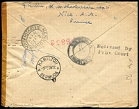 "Lot 1437 [2 of 2]:1941 (Feb 20) registered cover addressed to Mint Stamp Bank, Columbia, Louisiana with 2f50c Anti-Cancer Fund pair plus 1fr Mistral pair tied by Nice datestamps, intercepted in Bermuda with mss ""Condemn/verify"" mss notation on reverse, held for nine years, with 'Released by/Prize Court' two-line handstamp and Hamilton '3FEB50' datestamp on reverse, plus New York transit & Columbia arrival datestamps. Nice Prize Court item."