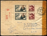 "Lot 1748 [1 of 2]:1941 (Feb 20) registered cover addressed to Mint Stamp Bank, Columbia, Louisiana with 2f50c Anti-Cancer Fund pair plus 1fr Mistral pair tied by Nice datestamps, intercepted in Bermuda with mss ""Condemn/verify"" mss notation on reverse, held for nine years, with 'Released by/Prize Court' two-line handstamp and Hamilton '3FEB50' datestamp on reverse, plus New York transit & Columbia arrival datestamps. Nice Prize Court item."