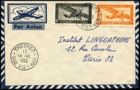 Lot 1105 [1 of 2]:1950 (Nov 14) airmail envelope to Paris with 1p & 2p Farman F.190 Airs tied by Thotnot datestamps, Cantho transit backstamp, fine condition.
