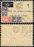 Lot 1761 [2 of 2]:1950 small airmail covers to Paris comprising (May 12) with 2p Aspara plus 10c x4 tied by Tayninh/Sud Viet-Nam datestamp, tax handstamp; and (Dec 2) with 1p Farman F.190 x3 tied by Hue/Centre Viet-Nam datestamp; fine condition. (2)