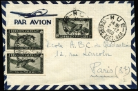 Lot 1810 [1 of 2]:1950 small airmail covers to Paris comprising (May 12) with 2p Aspara plus 10c x4 tied by Tayninh/Sud Viet-Nam datestamp, tax handstamp; and (Dec 2) with 1p Farman F.190 x3 tied by Hue/Centre Viet-Nam datestamp; fine condition. (2)