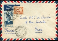 Lot 1763:1952 (Feb 5) airmail envelope to Paris with Vietnam 3pi Emperor plus Indo-China 30c tied by Biadinh Sud Viet-Nam datestamp, Saigon transit backstamp.