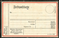 Lot 1840:WWI Army Feldpost postal card, black & red border lines, with printed 'A.P. & Co 1503' at lower right, minor blemishes, unused.