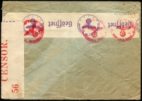 Lot 1828 [2 of 2]:1940 (May 28) dual censorsed cover to USA with Hindenburg 20pf x5 & 50pf tied by Berlin datestamps, intercepted by censor at Bermuda where 'PC 102/OPENED BY/CENSOR./56' tape applied. [Peter Flynn 'Intercepted in Bermuda: The Censorship of Transatlantic Mail During the Second World War', records only five Censor 56 labels]