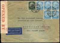 Lot 1828 [1 of 2]:1940 (May 28) dual censorsed cover to USA with Hindenburg 20pf x5 & 50pf tied by Berlin datestamps, intercepted by censor at Bermuda where 'PC 102/OPENED BY/CENSOR./56' tape applied. [Peter Flynn 'Intercepted in Bermuda: The Censorship of Transatlantic Mail During the Second World War', records only five Censor 56 labels]