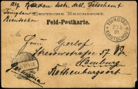 Lot 1192:1901 (Mar 22) stampless Feldpostkarte to Hamburg with very fine strike of 'TSINGTAU/22/3/01' datestamp, addressed to Germany with Hamburg arrival datestamp.
