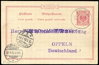 Lot 884:1899 Use of German 10pf postal card to Oppeln, Germany tied by 'APIA/KAISERL.DEUTSCHE/POSTAGENTUR/8-7/99' datestamp, greeting message on reverse from W von Bulow. Fine condition.
