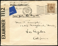 "Lot 1174:1940 (Aug 28) airmail cover to USA endorsed ""Via Intermediate/Airservice"" & ""New York-Los Angeles"" with 5d KGVI tied by London machine cancel 'OPENED BY/EXAMINER 1112' censor tape. [Scarce 5d rate paying surface rate across Atlantic and airmail rate within USA]"