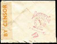Lot 1196 [2 of 2]:1945 (Jan 6) airmail cover to USA with 1/0½d franking (underpaid 2½d) tied by Walthamstow machine cancel, mss '10' marking probably indicating short payment, scarce use of orange on white 'EXAMINED/BY CENSOR' press censhorship label (CCSG Type PL3), on reverse 'Clock' type receiving handstamp in red.