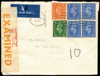 Lot 1196 [1 of 2]:1945 (Jan 6) airmail cover to USA with 1/0½d franking (underpaid 2½d) tied by Walthamstow machine cancel, mss '10' marking probably indicating short payment, scarce use of orange on white 'EXAMINED/BY CENSOR' press censhorship label (CCSG Type PL3), on reverse 'Clock' type receiving handstamp in red.