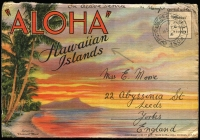 "Lot 2005:Hawaii (Sep 22) British Forces in Hawaii stampless pictorial 'ALOHA' Hawaiian Islands multiview coloured postcard folder addressed to UK, endorsed ""on active service"" & ""no stamps available"" cancelled with FPO '354' datestamp. [FPO 354 was allocated to 18th Division which operated on various ships prior to reaching Singapore in January 1942]"