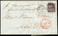 "Lot 1158:1868 (Oct 20) pre UPU Transantlantic mail entire to New York endorsed ""per America"" with 6d Plate 6 SG #104 tied by Londin duplex cancel, fine New York/Paid All 'NOV 3' arrival datestamp in red. [Interesting letter discusses cargo loading difficulties and alternative shipping arrangements]"
