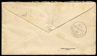 "Lot 1415 [2 of 2]:1873 (Apr 24) cover with original letter headed ""Wotton"" (Wootton) to Pennsylvania USA with 3d Plate 9 SG #103 tied by well-struck BN '94' cancel, superb Charmouth transit backstamp, 'NEW YORK/PAID ALL' datestamp in red on face, fine condition."