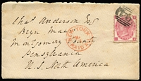 "Lot 1415 [1 of 2]:1873 (Apr 24) cover with original letter headed ""Wotton"" (Wootton) to Pennsylvania USA with 3d Plate 9 SG #103 tied by well-struck BN '94' cancel, superb Charmouth transit backstamp, 'NEW YORK/PAID ALL' datestamp in red on face, fine condition."