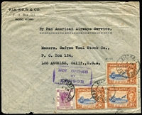 Lot 1694:1941 (Aug 28) Pak Shun & Co cover to USA endorsed 'By Pan American Airways Service' with $1 Centenary x3 plus 50c KGVI tied by Victoria datestamp, 'NOT OPENED/BY/CENSOR' boxed handstamp in violet, roughly opened at base.