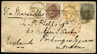 Lot 1424 [1 of 2]:1864 (Mar 7) cover to England with 2a, 4a & 8p SG #43, 45 & 53, tied by Kurachee '29' duplex datestamps, Bombay transit on reverse & London EC 'AP 7/64' arrival datestamp in red on face, minor soiling. Nice tri-colour franking.