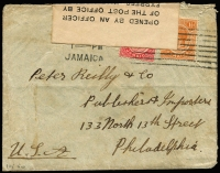 Lot 1504:1917 (May) cover to USA with KGV 1d & 1½d tied by Kingston machine cancel, scarce 'OPENED BY AN OFFICER/OF THE POST OFFICE BY/EXPRESS WARRANT OF/THE GOVERNOR' label over the upper edge, crested flap, some soiling.