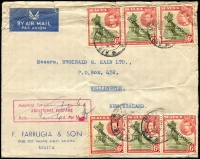 "Lot 1352:1950 (Aug 16) F. Farrugia & Son commercial airmail cover to New Zealand franked with 6d KGVI Self-Government strip of 3, cover handstamped with boxed 'Returned For......../ADDITIONAL POSTAGE/Rate.......per ½oz' with  ""1/6"" and initials entered in manuscript, additional 6d strip of 3 added to pay the deficit, some creasing."