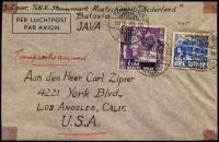 "Lot 2135 [1 of 2]:1940 (Mar 12) uncensored cover to USA from N.V. Stoomvaart Maatschappij Nederland (Netherlands Steamship Co) Batavia endorsed ""Transpacific airmail"" with 1g + 5c tied by Tandjong/Priok datestamp, Victoria Hong Kong 'MAR 20' transit backstamp."