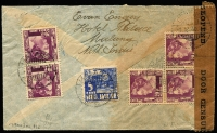Lot 19956 [2 of 2]:1940 (Dec 7) airmail cover to USA with Wilhelmina 20c x2 plus another x5 on reverse plus 5c all tied by Malang datestamps, 'DEV/8' handstamp on face, Dutch censor tape and handstamp, some small blemishes.