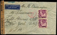 Lot 2136:1940 (Dec 7) airmail cover to USA with Wilhelmina 20c x2 plus another x5 on reverse plus 5c all tied by Malang datestamps, 'DEV/8' handstamp on face, Dutch censor tape and handstamp, some small blemishes.