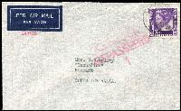 Lot 1395 [2 of 2]:1941 (Jul) airmail covers sent care of Australian Government Commissioner's Office (Batavia) at 35c or 55c rates, both with Dutch 'CENSUUR/GEPASSEERD' censor handstamps, the higher rated cover with boxed 'By air to Australia and/onward airtransmission' in violet. (2)