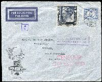 Lot 1593 [1 of 2]:1941 (Jul) airmail covers sent care of Australian Government Commissioner's Office (Batavia) at 35c or 55c rates, both with Dutch 'CENSUUR/GEPASSEERD' censor handstamps, the higher rated cover with boxed 'By air to Australia and/onward airtransmission' in violet. (2)