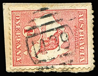 Lot 971:1489: (B2) discernible Type 4B strike used in Commonwealth Period tying 1d Roo to small piece, [Rated 4R].  Allocated to Woolomin-PO 1/10/1889; closed 28/2/1974.
