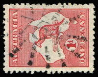Lot 492:754: (A2) Rays Type 3R12 used on 1d Roo [3R].  Allocated to Harwood Island-PO 1/2/1875.