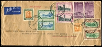 Lot 2242:1948 (May 6) double-rate late fee commercial airmail cover to United States Rubber Export Co in New York, attactively franked & tied by Wellington Late Fee datestamps, a tad roughly opened at base.