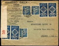 Lot 2228:1940 (Jul 3) Clipper mail printed cover to Chicago, with $1.75 pairs x2 plus 25c x3 tied by Lisbon datestamps, intercepted in Bermuda by Censor with red on white 'PC102/OPENED BY CENSOR./59' censor tape applied, opened on two sides, minor aging.