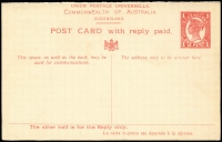 Lot 869 [2 of 6]:1911 Reply Postal Cards comprising separated 1d+1d HG #20 unused and separated 1½d+1½d #21 unused plus 1½d+1½d unseparated used to Germany x2, fine condition. (4)