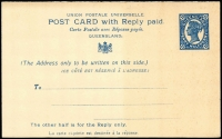 Lot 869 [3 of 6]:1911 Reply Postal Cards comprising separated 1d+1d HG #20 unused and separated 1½d+1½d #21 unused plus 1½d+1½d unseparated used to Germany x2, fine condition. (4)