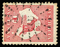 Lot 994:118: (A2) fine and largely complete strike of Rays Type 1c cancel used on 1d Roo, [Rated 4R].  Allocated to Cawarral-PO 15/10/1868; closed 8/6/1977.