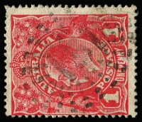 Lot 969:151: (B2) discernible strike of Rays Type N2a cancel used on 1d KGV, [Rated RRRR].  Allocated to Tieryboo-PO 21/5/1856; replaced by Condamine PO 31/7/1856.