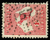 Lot 970:157: (A2) bold strike of Rays Type 1e cancel used on 1d Roo, [Rated 4R].  Allocated to Glamorgan Vale-PO 1/1/1872; RO c.-/6/1914; PO 1/7/1927; closed 29/1/1972.