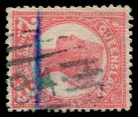 Lot 961:494: (B2) '[4]94' strike in blue-green on 2½d Sideface [Rated 5R].  Allocated to Birkdale-RO 1/10/1892; PO c.1896.