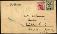 "Lot 1630:1914 (Nov 12) use of GRI ½d on 1d Postal Card headed ""SS John Williams"" (missionary ship) in manuscript, uprated with Ovpts on NZ 1d for transit to Australia, tied by Apia datestamp, 'Passed by Censor' unframed handstamp in blue-green, message reads ""...sailing today for Suva thence to Ellice & Gilberts..."", card slightly reduced at base which does not detract."