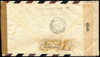 "Lot 1394 [2 of 2]:1942 (Aug 10) dual censored cover to New York endorsed ""per Pan Am. Airways/via Antigua"" with KGVI 1/- & 1½d tied by St Kitts datestamp, scarce chamfered oblong '(crown)/PASSED/BB_' handstamp with manuscript ""3"" inserted, 'EXAMINED BY/4345' censor tape applied on arrival, Antigua transit backstamp, some blemishes on & around stamps."