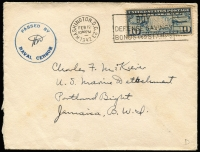 "Lot 2374 [2 of 2]:Portland Bight, Jamaica 1942 (Feb) two covers addressed to Corporal Charles Mckiever of the US Marine Corps Detachment stationed at Portland Bight, Jamaica, both with circular 'PASSED BY/NAVAL CENSOR' handstamp in blue, one with 10c Airmail tied by Washington slogan cancel, the other endorsed ""special rate"" with 1½c Prexie strip of 3 & single tied by Washington duplex cancel. (2)"